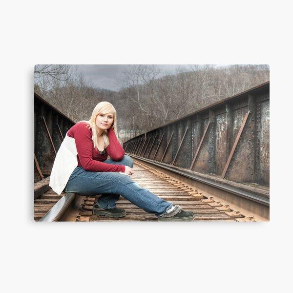 Samone On The Tracks Metal Print
