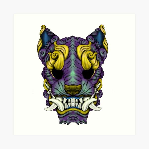 Purple Gold Foo Dog Art Print
