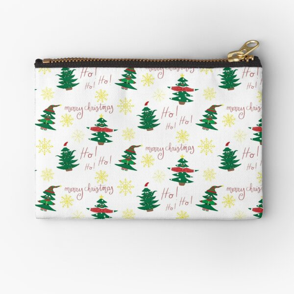 Christmas PATTERN - Christmas Loves - Fancy Dressed Merry Christmas Snowflakes Zipper Pouch
