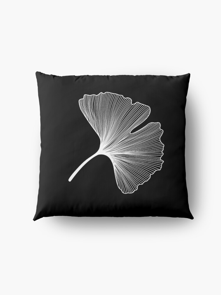 Alternate view of Ginkgo Biloba leaves pattern - WHITE Floor Pillow