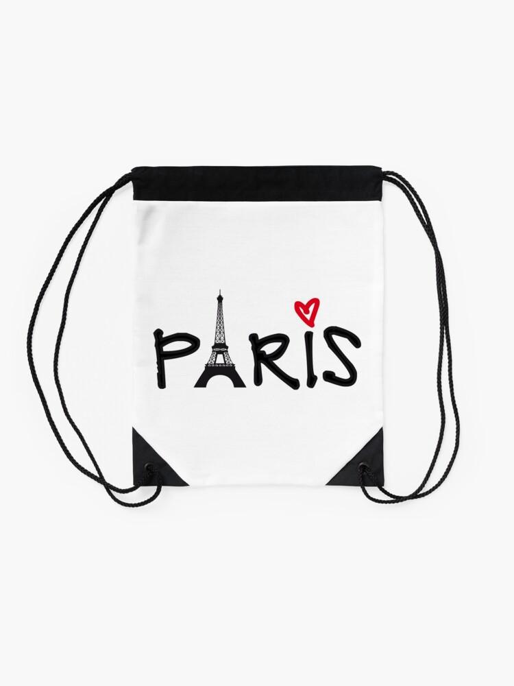 Drawstring Backpack I Love Paris Eiffel Tower Gym Bag