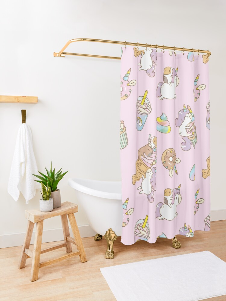 Alternate view of Bubu the Guinea pig, Unicorn Party  Shower Curtain