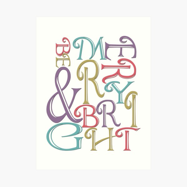 Modern Typography Merry and Bright  Art Print