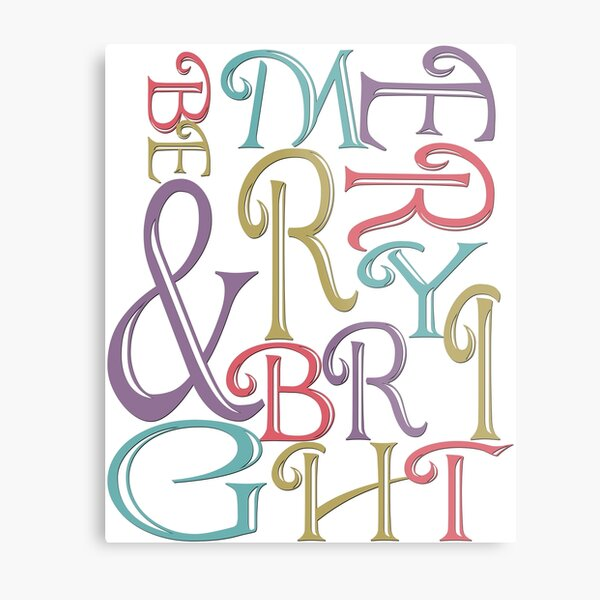 Modern Typography Merry and Bright  Metal Print