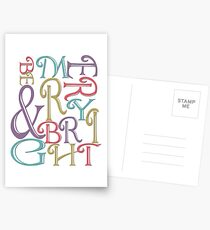 Modern Typography Merry and Bright  Postcards