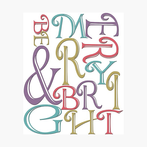 Modern Typography Merry and Bright  Photographic Print