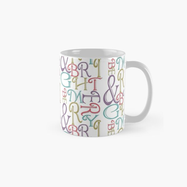 Modern Typography Merry and Bright  Classic Mug