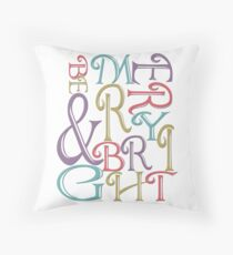 Modern Typography Merry and Bright  Throw Pillow