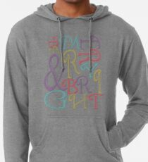 Modern Typography Merry and Bright  Lightweight Hoodie
