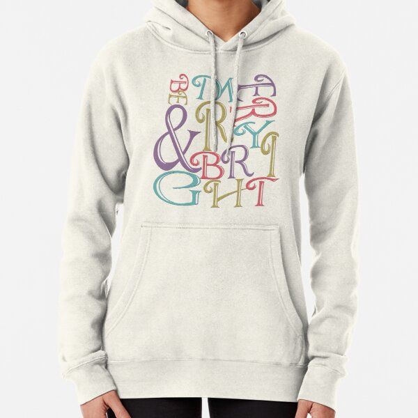 Modern Typography Merry and Bright  Pullover Hoodie