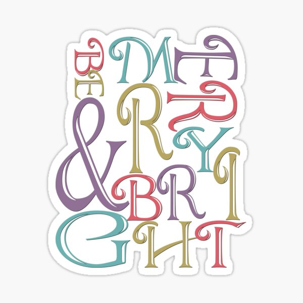 Modern Typography Merry and Bright  Sticker