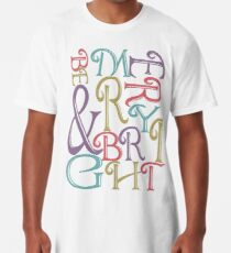 Modern Typography Merry and Bright  Long T-Shirt