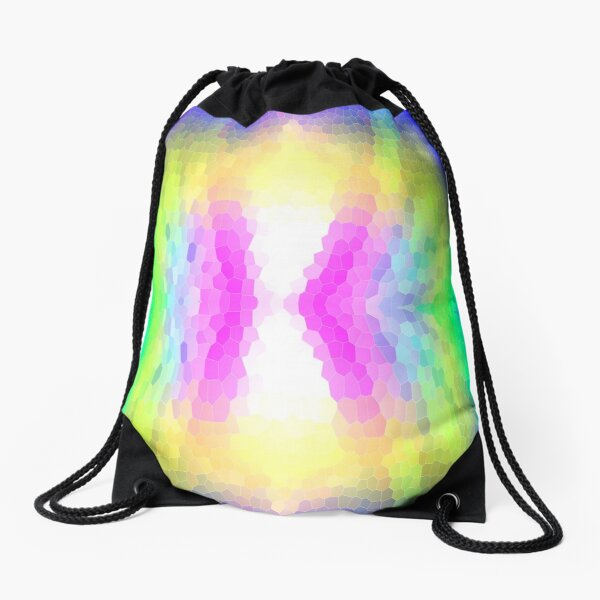 Mosaic of colour in pink, yellow and blue Drawstring Bag