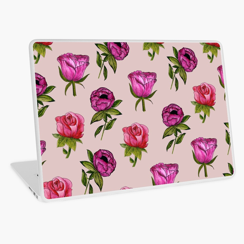 Pink and Purple florals Laptop Skin