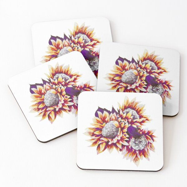 Red, Yellow, and Purple Sunflower Cluster Coasters (Set of 4)