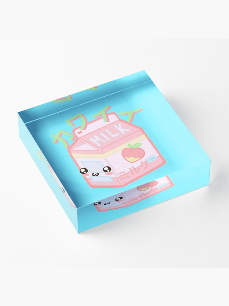 Alternate view of Kawaii Milk Japanese funny and cute Acrylic Block