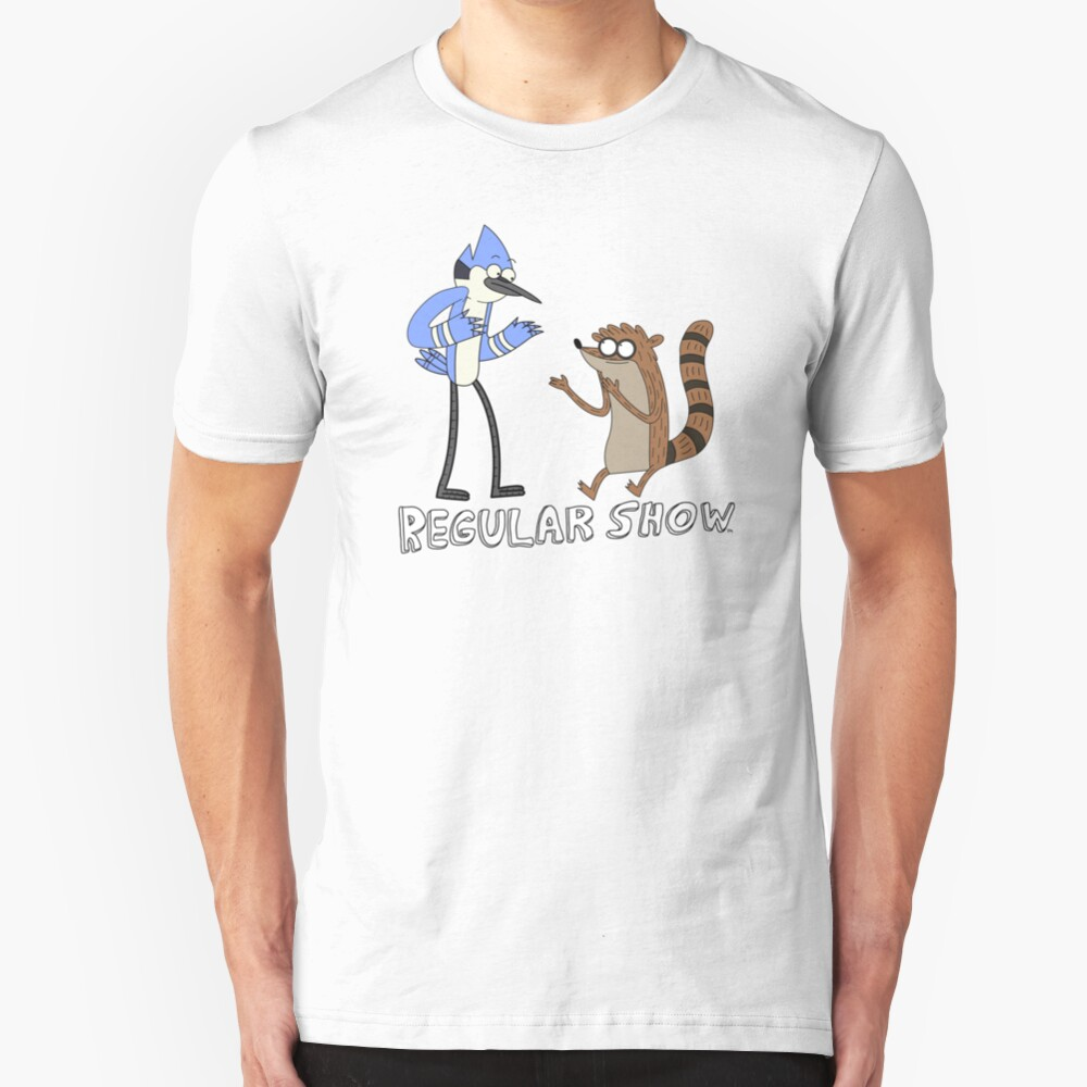 Regular Show Mordecai and Rigby Slim Fit T-Shirt