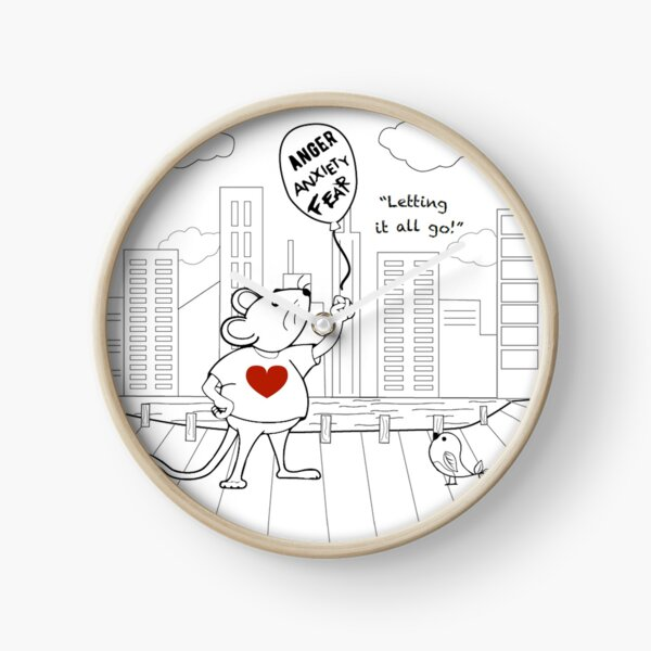MantraMouse® CityScape Letting it All Go Coloring Page Black and White Clock