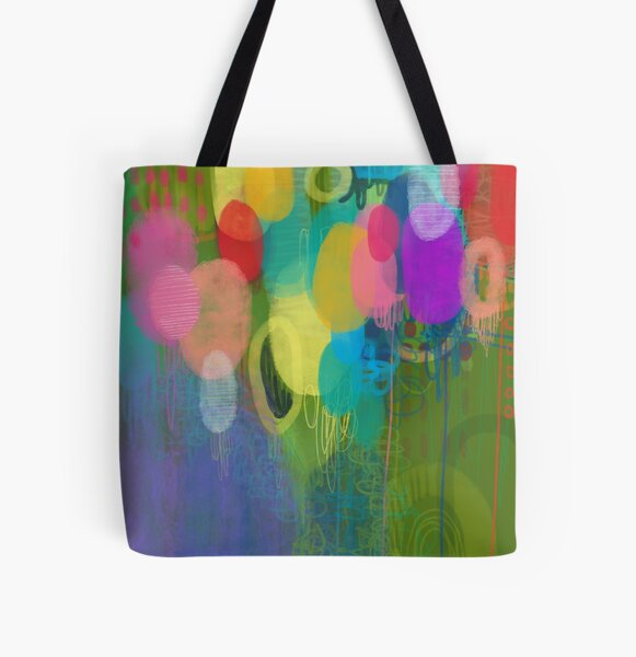 Rainbow Floral Meadow Bouquet  All Over Print Tote Bag