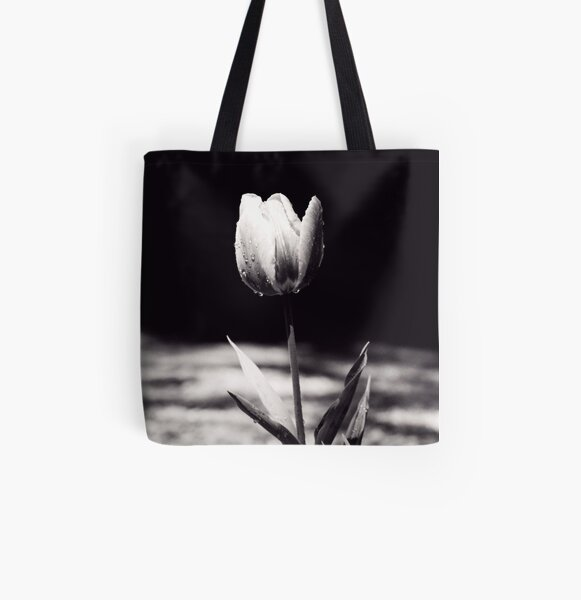 Raindrops on Tulip All Over Print Tote Bag