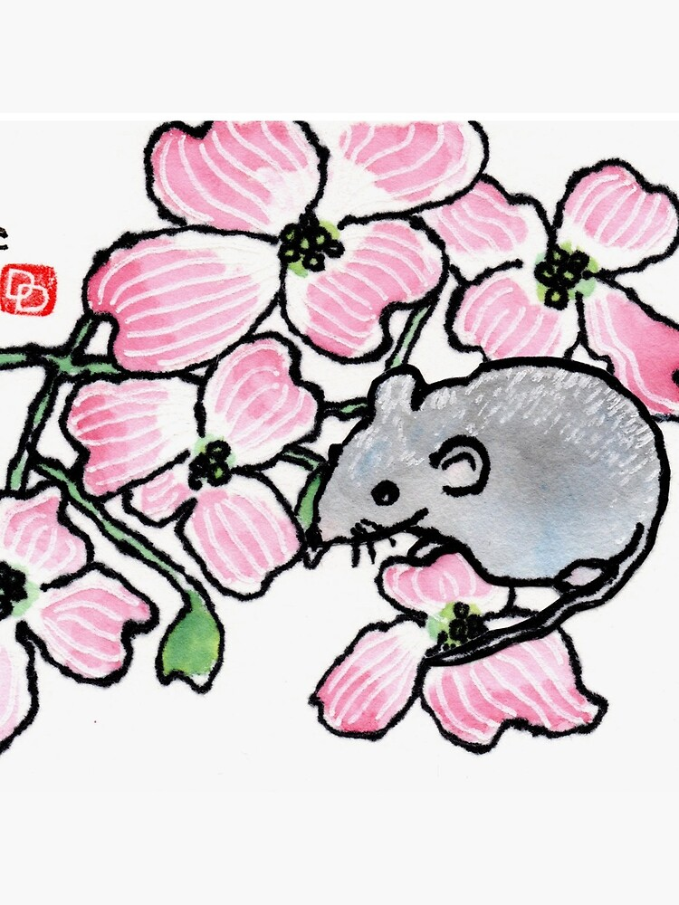 Dogwood blossoms and mouse by dosankodebbie