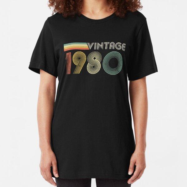 Vintage 1980, 40th Birthday Gift Slim Fit T-Shirt