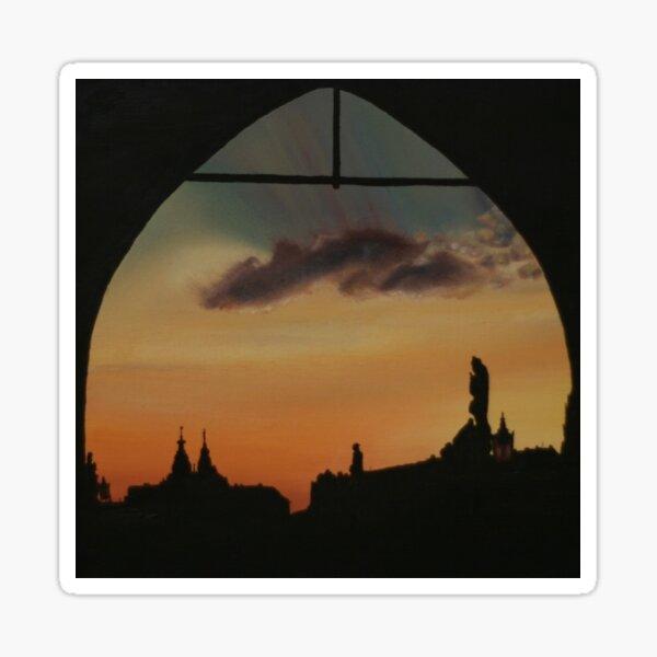 Sunset Keyhole Silhouette - Prague  Sticker