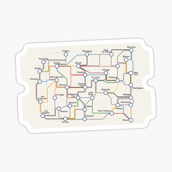 US Railroad - Ticket To Ride - Subway Map Sticker