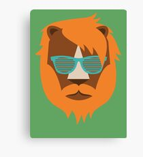 Cute Lion Hipster Animal With Funky Glasses Canvas Print