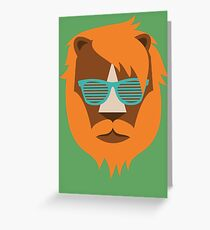 Cute Lion Hipster Animal With Funky Glasses Greeting Card