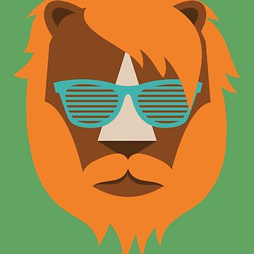 Cute Lion Hipster Animal With Funky Glasses by SonicContours