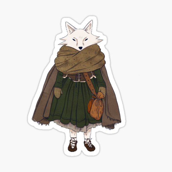 Arctic Fox Who Still Needs a Scarf Sticker