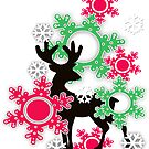 merry Christmas! , new year , Christmas deer, snow, snowflakes, decoration by fuzzyfox