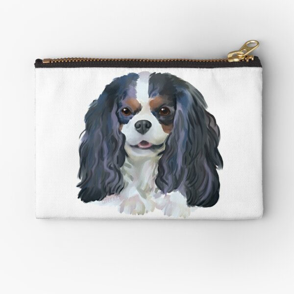 Tricolour Cavalier King Charles  - Smiling Zipper Pouch