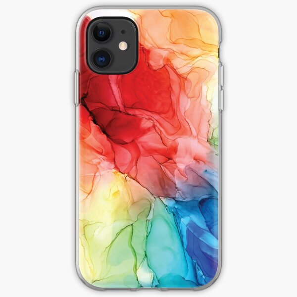 Rainbow Good Vibes Abstract Painting iPhone Soft Case