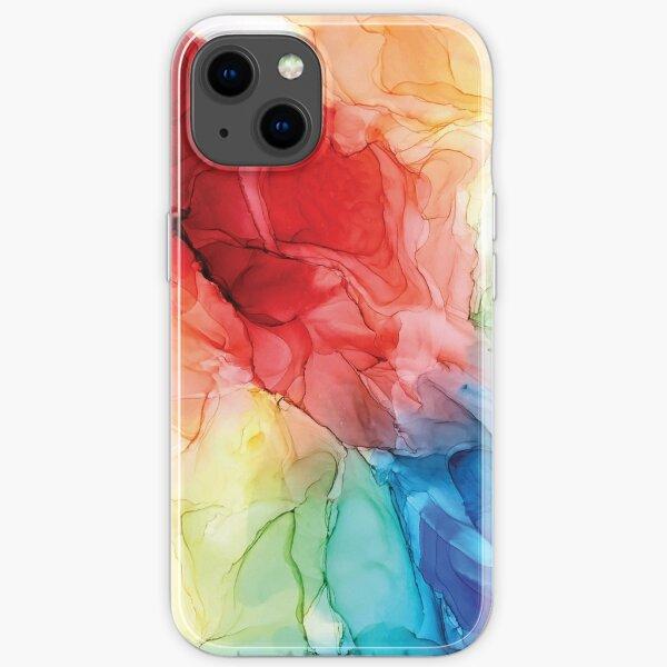 Rainbow Good Vibes Peinture abstraite Coque souple iPhone