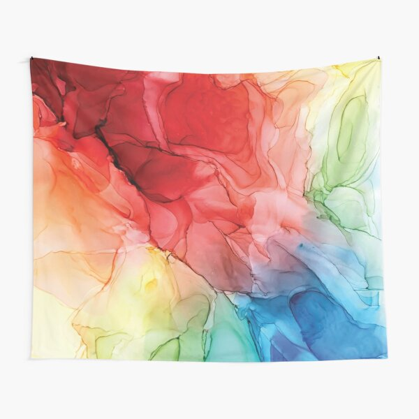 Rainbow Good Vibes Abstract Painting Tapestry