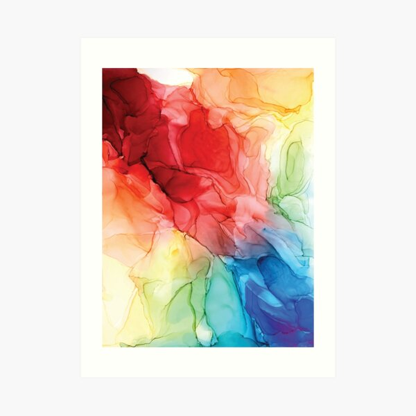 Rainbow Good Vibes Abstract Painting Art Print