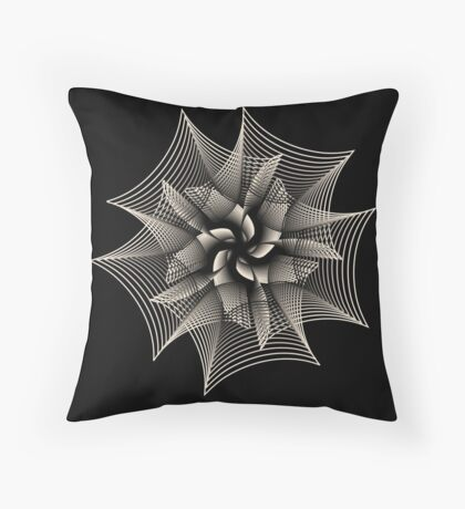 Abstract Monochrome Flower Throw Pillow