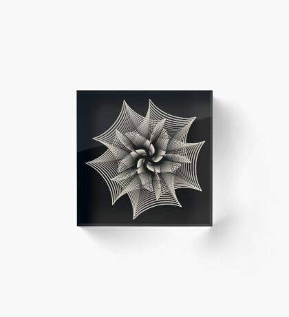 Abstract Monochrome Flower Acrylic Block