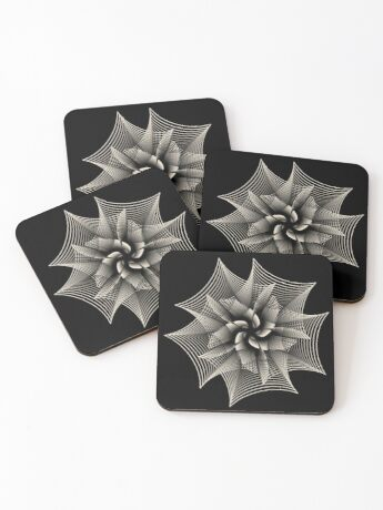 Abstract Monochrome Flower Coasters