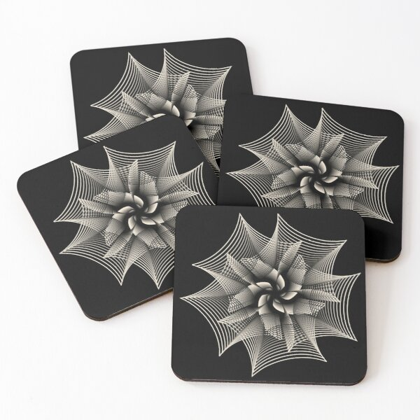 Abstract Monochrome Flower Coasters (Set of 4)