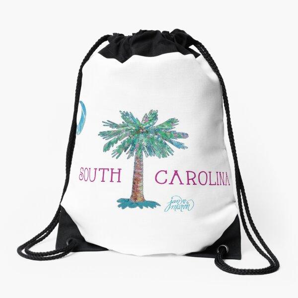 South Carolina Palmetto Tree and Moon by Jan Marvin Drawstring Bag