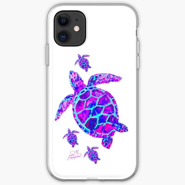 Sea Turtle with babies pink and blue iPhone Soft Case