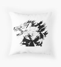 the wolf and the crow Throw Pillow
