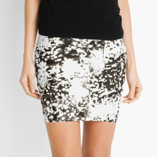 #Monochrome #Dirty #Abstract #Stain Pattern Design Rough Art Mini Skirt