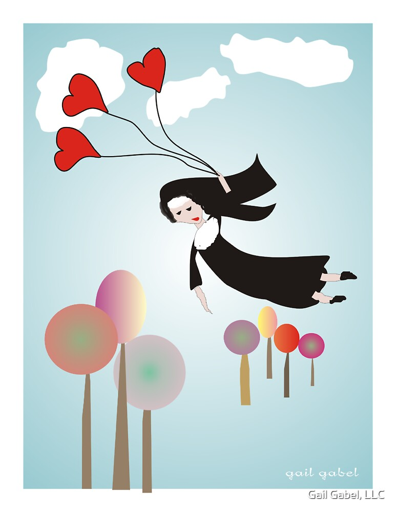 Nun With Balloons--Whimsical Drawing by Gail Gabel, LLC