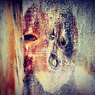 Faces in the fence palings by TeAnne