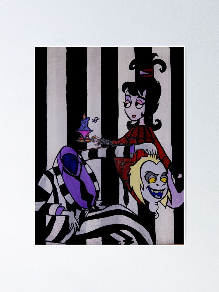 Beetlejuice And Lydia Deets Cartoon Drawing Poster By Michellebites29 Redbubble