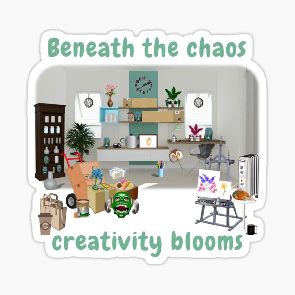 Chaos and creativity entwined Sticker